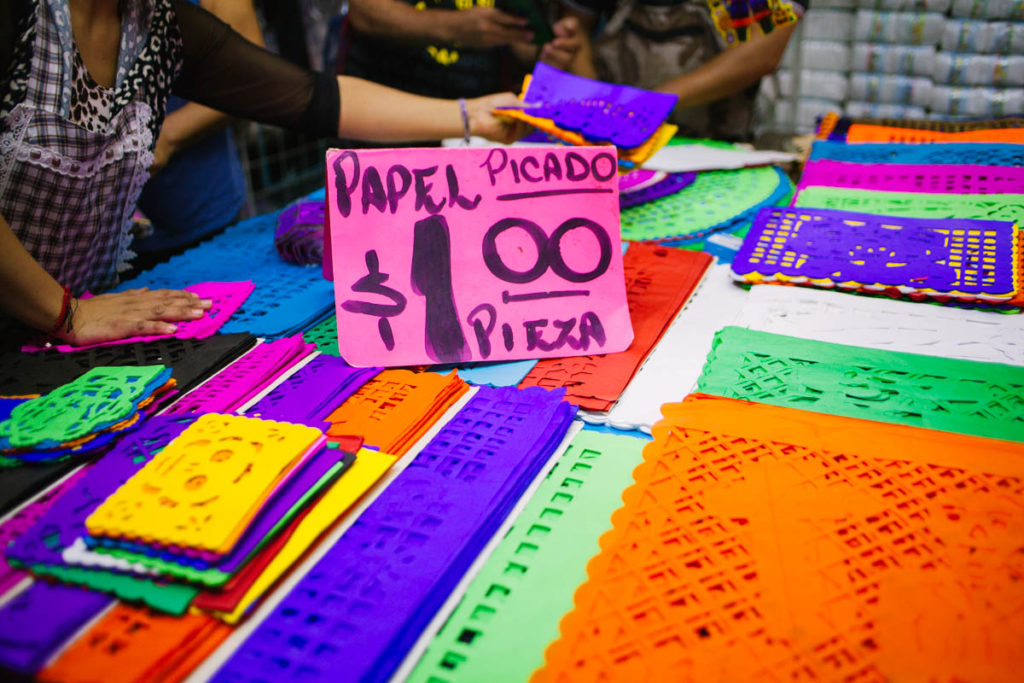Papel picado for sale in market