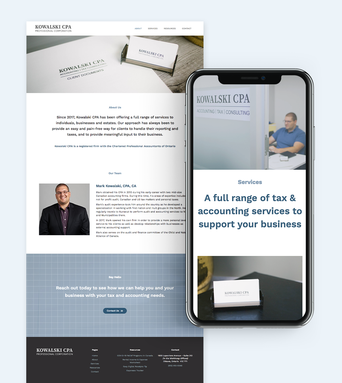 Accountant website design custom photography