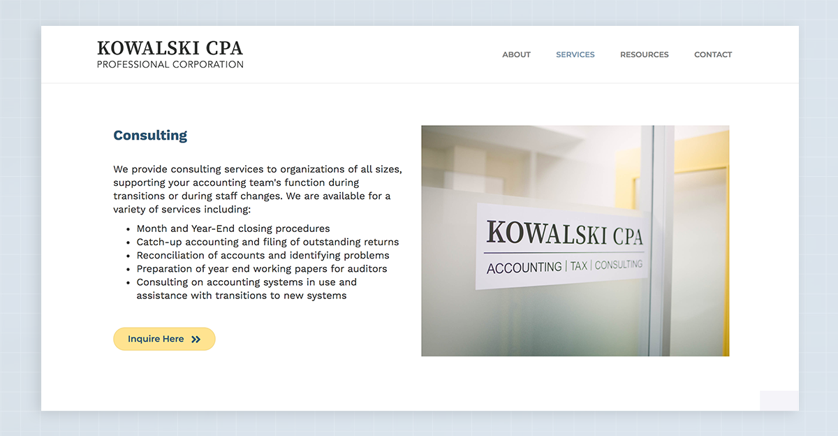 Accounting and finances services page highlight with custom photography from Kowalski CPA website design