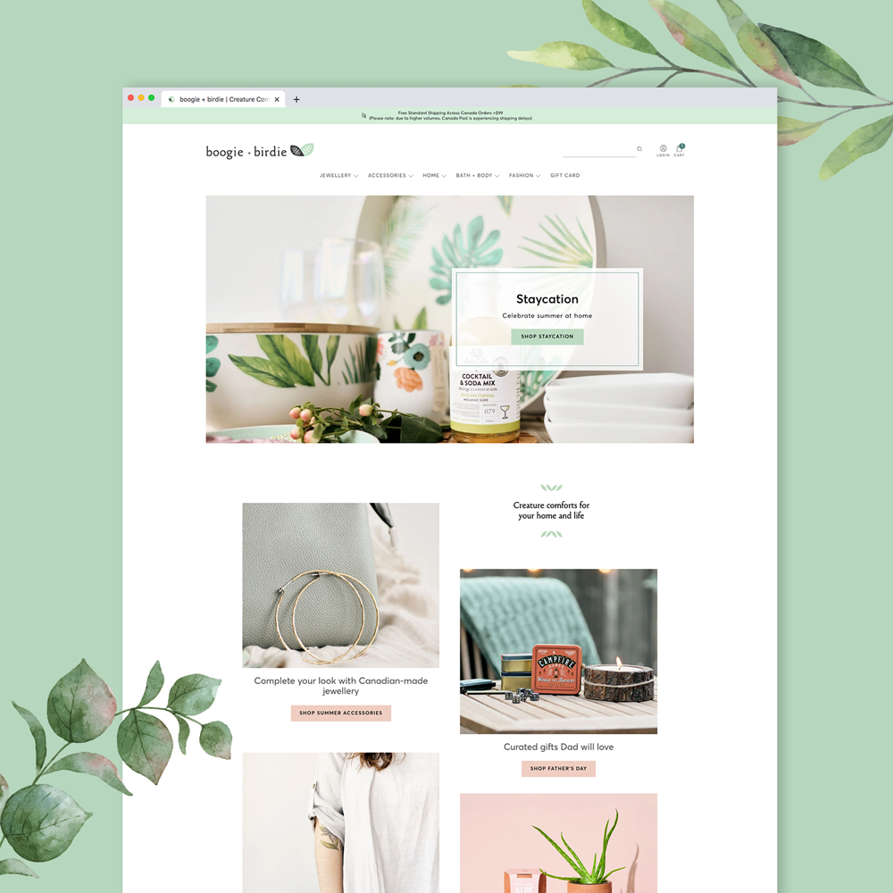 Shopify website design and brand design for Ottawa gift shop